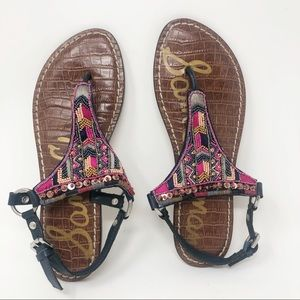 SAM EDELMAN BEADED SANDALS 7